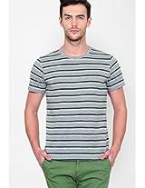 Grey Striped Slim Fit Crew Neck T Shirt