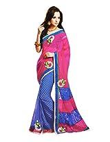 Gopalclothdesigner Georgette Resham Saree (iwgy25_Magenta Blue)