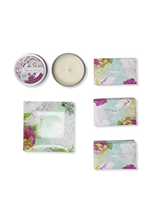 Mudlark Set of 3 Hand-Crafted Soaps in Soap Dish with a Candle Tin, Giardino