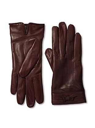 Portolano Women's Corded Bow Leather Gloves (Bordo/Bordo)