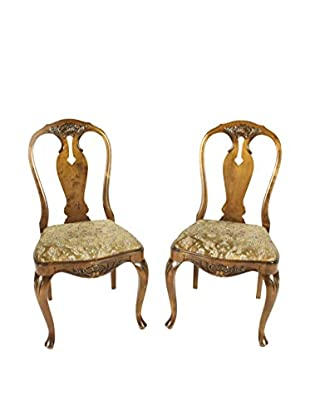 Pair of French Hall Chairs, Tan/Gold