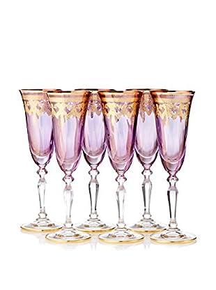 A Casa K Melodia Set of 6 Engraved Crystal 4.7-Oz. Champagne Flutes