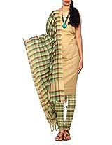 Unnati Silks Women Unstitched cream-multicolor pure handloom Kanchi cotton salwar kameez
