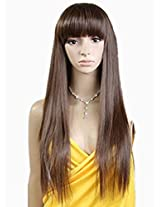 Cool2day Beautiful & Long Straight Hair Party Wig (Model: Jf010232) (Dark Brown)