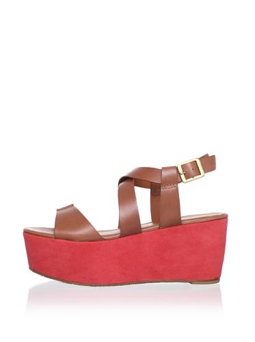 Pour La Victoire Women's Noele Platform Sandal (cognac/red)