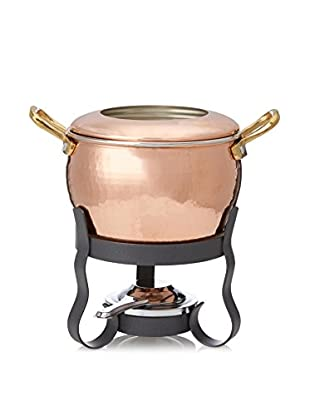 Ruffoni 4-Piece Fondue Set Including Base, Pot, Rimmed Lid And Flame Holder Copper, 2.5 Qt