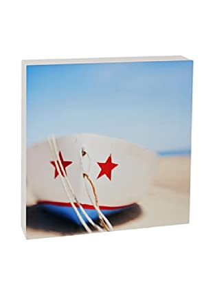 Art Block Red Star Boat - Fine Art Photography On Lacquered Wood Blocks