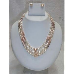 Trendy Souk Peach, Ivory & Grey Pearls Necklace Set (TRENDY15)