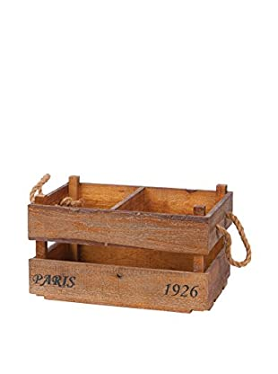 Skalny Wood Crate With Rope Handles, Brown