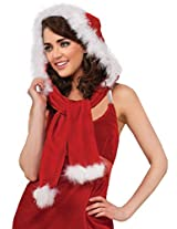 Secret Wishes Ms. Santa Hooded Scarf, Red/White, One Size