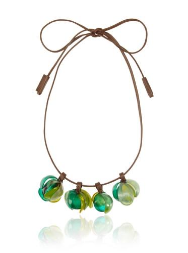 MARNI Women's Beaded Leather Necklace, Tea Green
