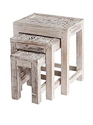 Mercana Set of 3 Tintamerre Wood Tables, White