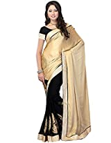 Embroidered Cream Saree Fabdeal