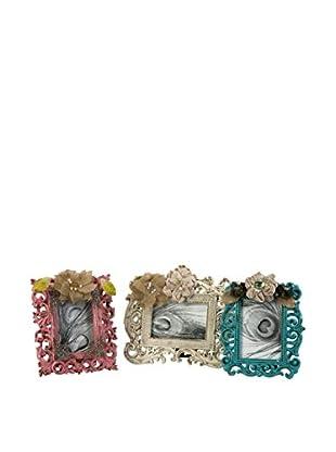 Set of 3 Carson Embellished Photo Frames, Pink/White/Blue