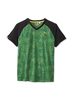 PUMA Men's Logo Raglan V-Neck Tee (Green)