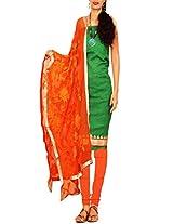 Unnati Silks Women green-orange pure chanderi silk salwar kameez dress material
