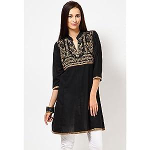 Riya Half Sleeves Embroidered Black Kurti