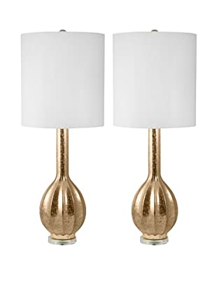 Aurora Lighting Set of 2 Gold Embossed Ceramic Table Lamps