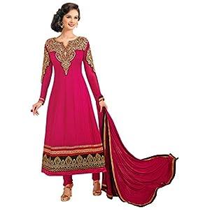 Evelyn Sharma Red Faux Georgette top, crepe bottom & inner with chiffon dupatta Resham & Zari Embroidery Anarkali Salwar Kameez Suit