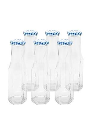 Kilner Set of 6 Blue/White Hexagonal Twist Top .25L/8.4 fl oz. Bottles