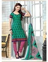 Saara Green And Pink Printed Dress Material - 144D4032