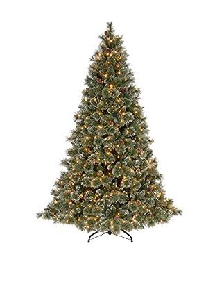 National Tree Company 7.5' Glittery Bristle Pine Hinged Tree