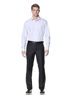 Pierre Balmain Men's French Collar Dress Shirt (Light Blue Stripe Centauno)