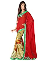 Admyrin Red and Beige Georgette Saree With Green Blouse Piece