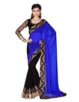 Designersareez Women Royal Blue & Black Faux Georgette saree with unstitched blouse (1789)