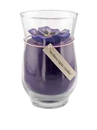 Northern Lights 18-Oz. Purple Pansy Floral Vase Candle