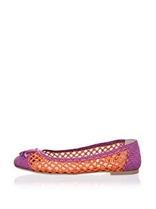 Chelsea Paris Women's Boho Woven Ballet Flat (Neon Pink/Orange)