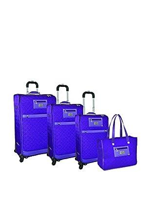 Adrienne Vittadini Quilted Nylon 4-Pc Luggage Set, Purple