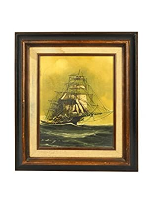 Uptown Down Vintage Clipper Ship Acrylic Painting