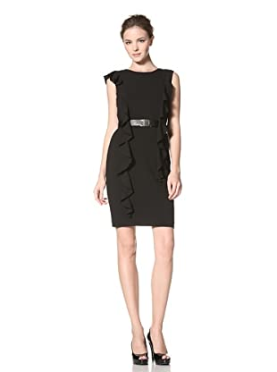 Calvin Klein Women's Dress with Long Ruffle Detail and Belt (Black)