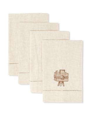 D.L. Rhein Set of 4 Travel Set Guest Towels, Vintage Camera