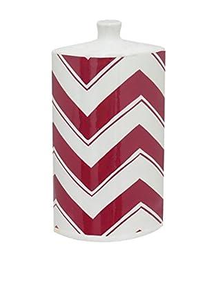 Three Hands Tall & Oblong Chevron Ceramic Vase, Red/White