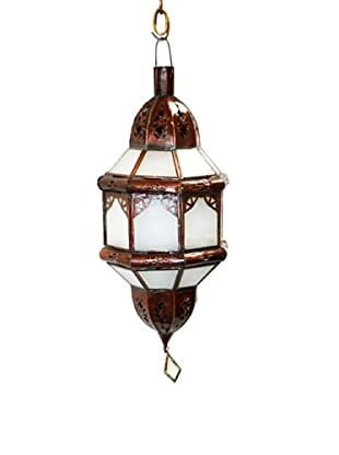 Badia Design Brass Shade with White Glass, Brown/White