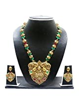 Gold Plated Necklace Set By Zaveri Pearls - Temple Jewellery