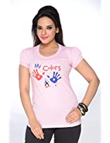 No Problem Womens Tee-shirt-Pink(Size Large)