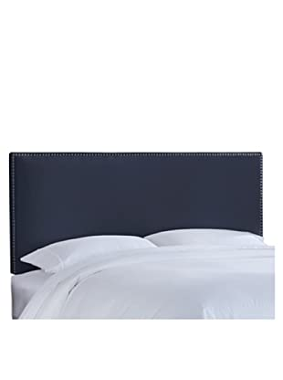 Skyline Pewter Nail Button Border Headboard (Navy)