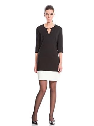 Cortefiel Vestido Contrastado (Negro)