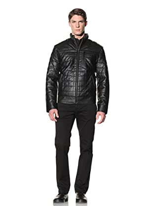 Perry Ellis Men's Quilted Faux Leather Jacket (Black)
