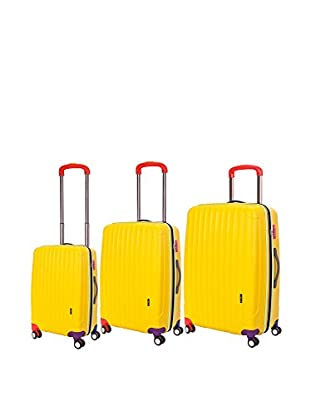 Travelers Club Getaway Collection 3-Piece Oversized Expandable Hardside Double-Spinner Luggage Set, Yellow