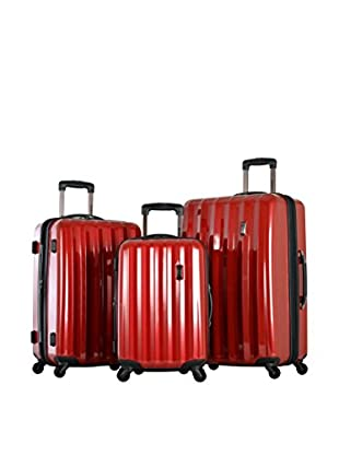 Olympia USA Titan 3-Piece Expandable Polycarbonate Hard Case Spinner Set, Red