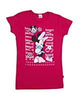 Disney Girls' Graphic Printed T shirt (0123785_Fuschia_6-7 Years)