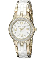 Anne Klein Women's 10/9456WTGB Swarovski Crystal Accented Gold-Tone and White Ceramic Bracelet Watch