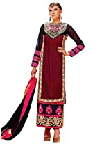 Admyrin Women's Maroon Georgette Net Velvet Embroidered Salwar Suit
