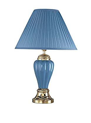 ORE International Fluted Ceramic 1-Light Table Lamp, Blue/Gold