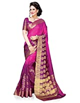 Meghdoot Artificial Silk Saree (ETHNIC_MT1370_RANIxPURPLE Woven Pink and Purple Colour Sari)