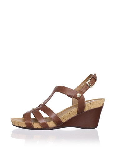 Geox Women's Roxy30 Wedge Sandal (Dark Brown)